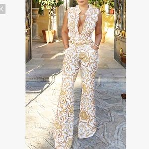White and Gold Print Wide Leg Jumpsuit - Large
